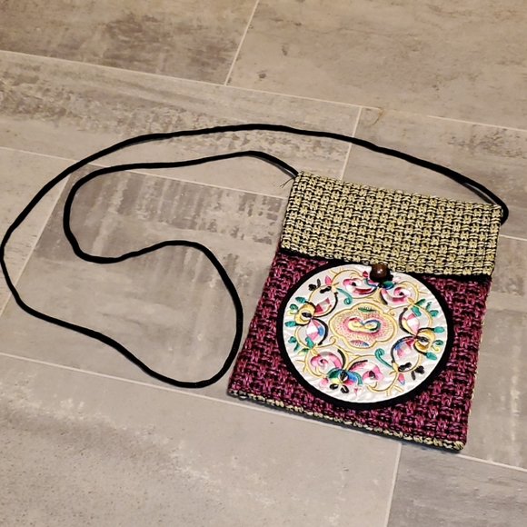 NWOT Embroidered Woven Crossbody Bag